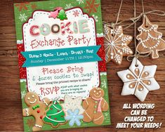 Cookie Exchange Invitation Printable - Cookie Swap Invite - Holiday Party Card - Christmas #cookieexchangeparty
