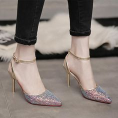 Women's Silver Pointed Shoes Shallow Mouth A-line Closed Source by highheelsboutiquewomen de mujer hermosos Shoe Boots, Shoes Heels, Heels Outfits, Frauen In High Heels, Giuseppe Zanotti Heels, Studded Heels, Fashion Heels, Lace Up Heels, Women's Pumps