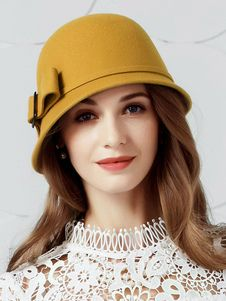 a07347afc65 Vintage Cloche Hats Yellow Bows Wool Winter Hat For Women