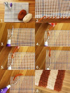 1. Supplies: blank latch hook canvas, latch hook, yarn (you can buy pre-cut latch hook yarn, but to save money I cut mine by hand) 2. Fold an edge over one or two times and whipstitch around the edge until secure. Repeat on all for sides to bind the edges of the rug. 3. Push your hook through a square. The hook will need to go under and through. 4. Wrap the yarn around the base of the hook and pull the yarn around the top part of the hook. 4. Begin pulling down on the hook. The small arm…