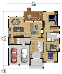 Ideas home bedroom small floor plans Small House Floor Plans, Family House Plans, Dream House Plans, Modern House Plans, House Layouts, Future House, Planer, New Homes, House Design