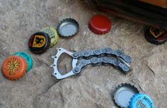 Recycled Bicycle Cassette & Chain Bottle by JaredKramerStudios