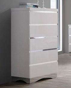 * Alessandro Collection<br />* Finish: Glossy White<br />* Drawer Glide Type: Full Extension Glides<br />* Drawer Construction: Pin Front, Pin Back Apartment Needs, White Chests, Filing Cabinet, Drawers, It Is Finished, Construction, Type, Storage, Shopping