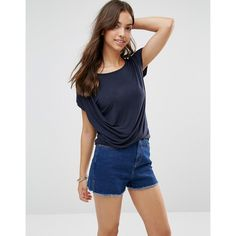 Vila T-shirt With Side Draping ($25) ❤ liked on Polyvore featuring tops, t-shirts, navy, navy blue top, relaxed tee, jersey top, boatneck top and jersey tee