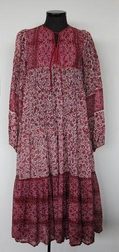 Bohemian Chic Rich Hippie Block Print Indian Gauze Cotton Dress | eBay