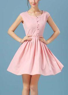 Shein.com - Robe plissée avec boutons rose  (18.32€)