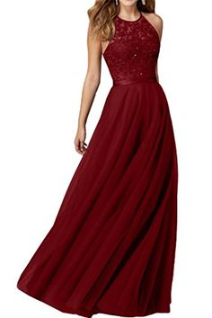 Audrey Bride Sexy Halter Long Prom Dresses Beaded Evening Gowns for Woman-18W-Dark Red * Visit the image link more details.