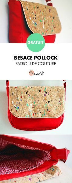 La Besace Pollock - patron couture et explications détaillées - Helloo Coin Couture, Couture Sewing, Bag Patterns To Sew, Sewing Patterns Free, Free Sewing, Diy Bags Purses, Diy Tote Bag, Bag Making, Sewing Projects