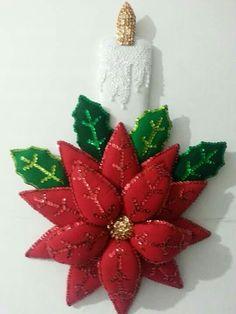 Nochebuena vela Paper Christmas Decorations, Christmas Wall Hangings, Christmas Paper, Christmas Projects, Christmas Themes, Christmas Holidays, Fabric Ornaments, Felt Ornaments, Diy Christmas Ornaments
