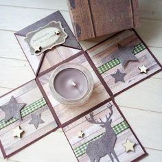 Papierschneiderei: Weihnachtliche Explosionsbox Scrapbook Box, Scrapbooking, Exploding Boxes, Stamping Up, Christmas Gifts, Envelopes, Cards, Diy, Navidad