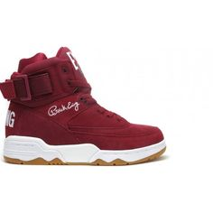 Ewing Athletics Ewing 33 Hi Biking Red/White-Gum ❤ liked on Polyvore featuring shoes and sneakers