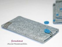 grau Hülle Handy Punkt blau Filz für iPhone 4 5 6p