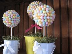 Easter jelly beans topiaries. I can also see variation of these as cute decoration for kids birthday party