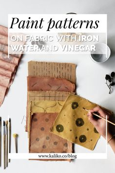 Understanding plant dye modifiers: Paint patterns with iron water and vinegar — kaliko Painting Patterns, Fabric Painting, Fabric Art, Fabric Crafts, Fabric Design, Plant Painting, Painting Art, Watercolor Paintings, Shibori