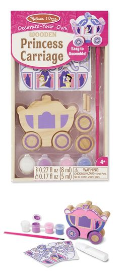 "Decorate-Your-Own Wooden Princess Carriage: Children can create their very own regal ride with this craft kit! Includes double-sided princess carriage, wheels, axles, stickers, paint, brush, and glue. The wheels really turn, inviting imaginative play. A great craft activity for a ""princess"" party! Carriage measures approximately 3"" long. *This is such a sweet project!"