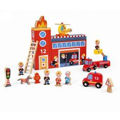 What perfect toy for your little firefighter than the Storybox Play Set Fire Station by Janod. Perfect for ages years, your little one will have pretending to be a firefighter. Wooden Playset, Wooden Toys, Wooden Figurines, Kids Store, Baby Kind, Imaginative Play, Building Toys, Fire Trucks, Cool Toys