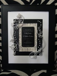 Quilled Wedding Invitation Keepsake was a gift for a couple married on New Years Eve 2015. It is a exquisite black, gold and white  piece of quilled art, framed 14 x 17