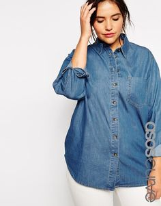 $40, Blue Denim Shirt: Asos Curve Denim Shirt In Retro Wash. Sold by Asos. Click for more info: http://lookastic.com/women/shop_items/237958/redirect