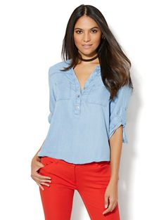 Shop Soho Soft Shirt - Ultra-Soft Chambray - Bubble-Hem Blouse. Find your perfect size online at the best price at New York & Company.