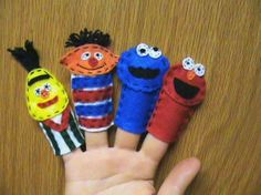 Sesame Street Finger Puppets Elmo, Cookie Monster, Bert, and Ernie (no sew for me)