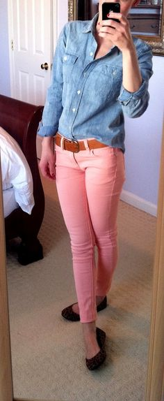 Denim shirt and colored jeans! Did this the other day with red jeans.