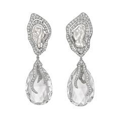 Dorota ​Rock Crystal & Keshi Pearl Drop Earrings