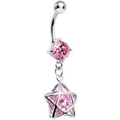 Pink Gem Encased Star Belly Ring | Body Candy Body Jewelry