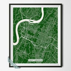 CHATTANOOGA, TENNESSEE STREET MAP PRINT by Voca Prints! Modern street map art poster with 42 color choices. Perfect for anyone who loves to travel or is away from home.