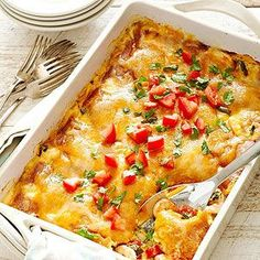 Puebla Shrimp Rellenos Casserole - Tender shrimp and chopped poblano peppers combine with cheddar cheese and fresh tomatoes for a Tex-Mex fusion.