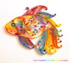 Colorful fish paper art.