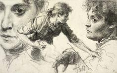 Adolph Menzel, Head Studies, ca. 1882-84, RISD Museum
