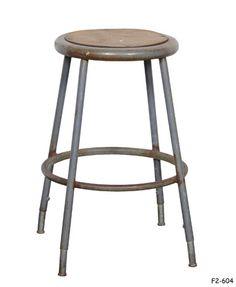 shop stool round inset masonite seat within rusted grey