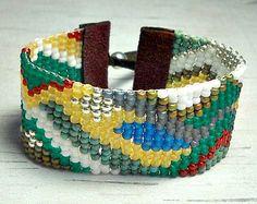 Loom Bead Bracelet - Beaded Loom - Adjustable Bracelet - Tribal Bracelet - Beaded Cuff Bracelet