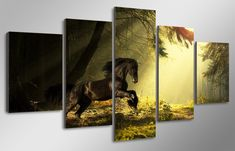 5 Pcs With Wood Framed HD Printed majestic horse training the forest Painting room decor print poster picture canvas painting Poster Pictures, Canvas Pictures, Canvas Art, Canvas Prints, Forest Painting, Majestic Horse, Horse Training, Poster Prints, Horses