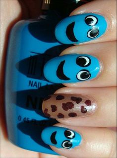 Nail Art Tutorial: Cookie Monster Nails