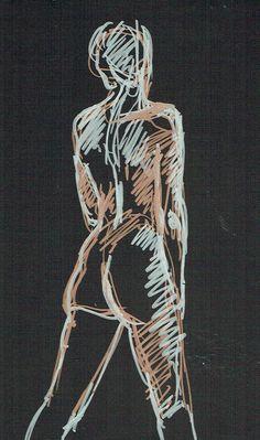 Drawing by Ödön Kunyi, bronze and silver felt tip pen on black paper, 2014