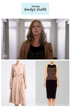 "On the blog: Emily Thorne's (Emily Van Camp) lace sheath dress and flowy trenchcoat | Revenge – ""Execution"" (Ep. 322) #tvstyle #tvfashion #outfits #fashion #finale"