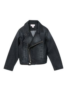 This cool biker styled denim jacket has lots of attitude with a zip through asymmetrical front.