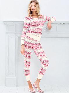 VS Fireside Long Jane Pajama. Ivory/Red Fairisle. Size Small.