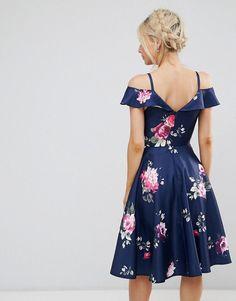Chi Chi London Petite Midi Dress with Frill Cold Shoulder - Multi