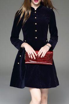 Zeraco Purplish Blue Velvet Flare Dress | Knee Length Dresses at DEZZAL