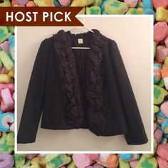 J. Crew Wool and Silk Chimera Jacket - HP!  Wool and silk ruffle jacket in charcoal gray. Lightly worn 2-3 times but in excellent condition. 100% wool, lining: 100% acetate, trim: 100% silk. From J. Crew: On our most-wanted list for fall, this jacket is beautifully constructed from polished double-serge wool with an impressive pleated silk habotai trim that creates a unique bubbled effect. Short standing collar. Hidden hook-and-eye closure. Bracelet sleeves. Fully lined. Hits at hip. Dry…