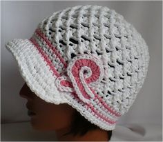 f21be5104af69 Crochet Hat with brim- Breast Cancer awareness White