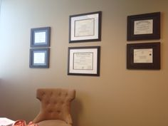 Idea to hang all of Ken's degrees and certificates in our office. We would need more of the smaller frames.