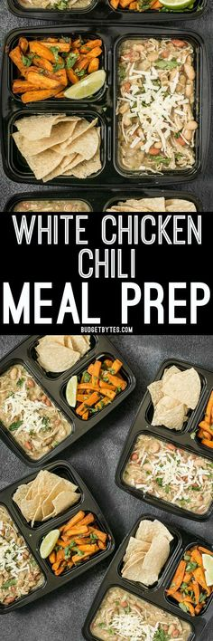 Healthy Meals For Kids This White Chicken Chili Meal Prep includes a slow cooker chili with Cumin Lime Roasted Sweet Potatoes and tortilla chips for dipping! Lunch Meal Prep, Meal Prep Bowls, Healthy Meal Prep, Healthy Foods To Eat, Healthy Recipes, Vegetarian Meal, Delicious Recipes, Tasty, Bean Recipes