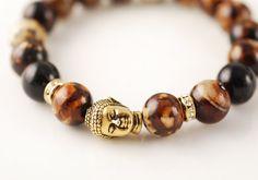 Brown Agate Bead Stretch Bracelet