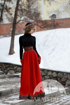 Russian style woolen long skirt Russian seasons warm skirt Russian national traditional costume