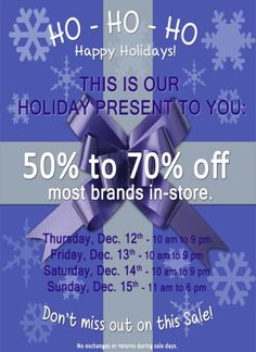 All denim in store, including Citizens of Humanity, True Religion, Tag, Level 99, Bishop of Seventh on sale for $99.00 Dec 12th to Dec 15th, 2013.
