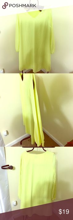 Canary yellow flirty dress Beautiful sheath dress perfect for a spring or summer wedding, day party, graduation or Mother's Day brunch. Sleeves are open with slit from shoulder to wrist, pair with colorful statement jewelry Worthington Dresses