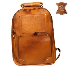 00f8c016b2 Leather World 13.5 Liter Rust Genuine Leather 16 Inch Fashion Backpack with Zip  Closure Travel Bag BP3008